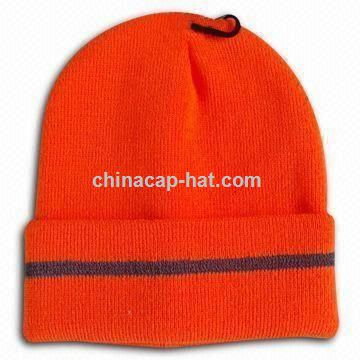Knitted Beanie Hat with 3M Fluorescence Stripe
