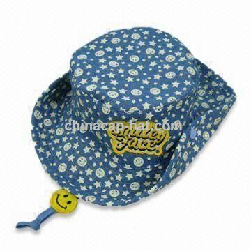 Kids Bucket Hat with Allover Print and Embroidery