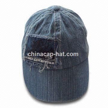 Denim Cap with Heavy Wash Distressed Effect