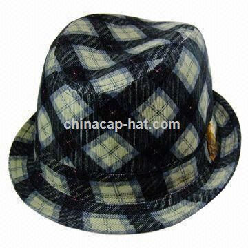 Womens Plaid Corduroy Small Fedora Hat