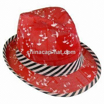 Womens Red Fedora Hat