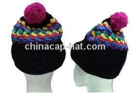 Bobble Beanie Hat with Braided Earflaps and Built in Headphones