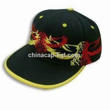 Acrylic and Wool Flat Visor Cap with 3-D Embroidered Designs
