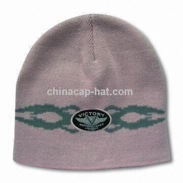 Knitted Hat with Embroidery Patch, Made of 100 Acrylic, Available in Various Colors and Fabrics
