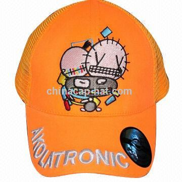 Neon Sports Cap for Children, Glow-in-the-dark, Mesh Back, Pre-curved or Flat Visor