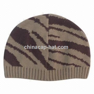Womens Knitted Hat, Fashionable Zebra Stripes, Jacquard Pattern, Made of Acrylic with Cotton