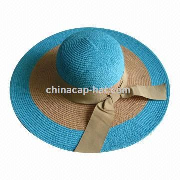 Paper braid floppy hat with large bow, measures 57cm, made of 100 paper