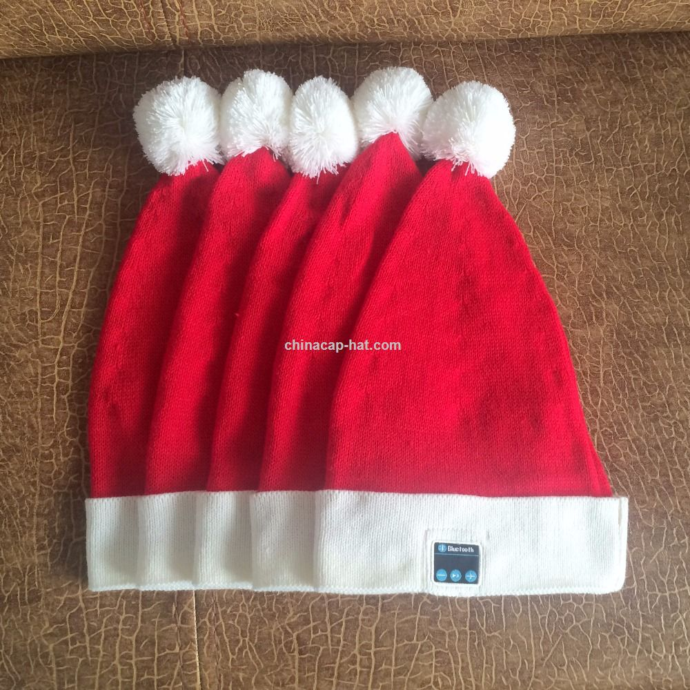 Smart Bluetooth Caps Santa Red Christmas Party Hat Bluetooth Headset Cap